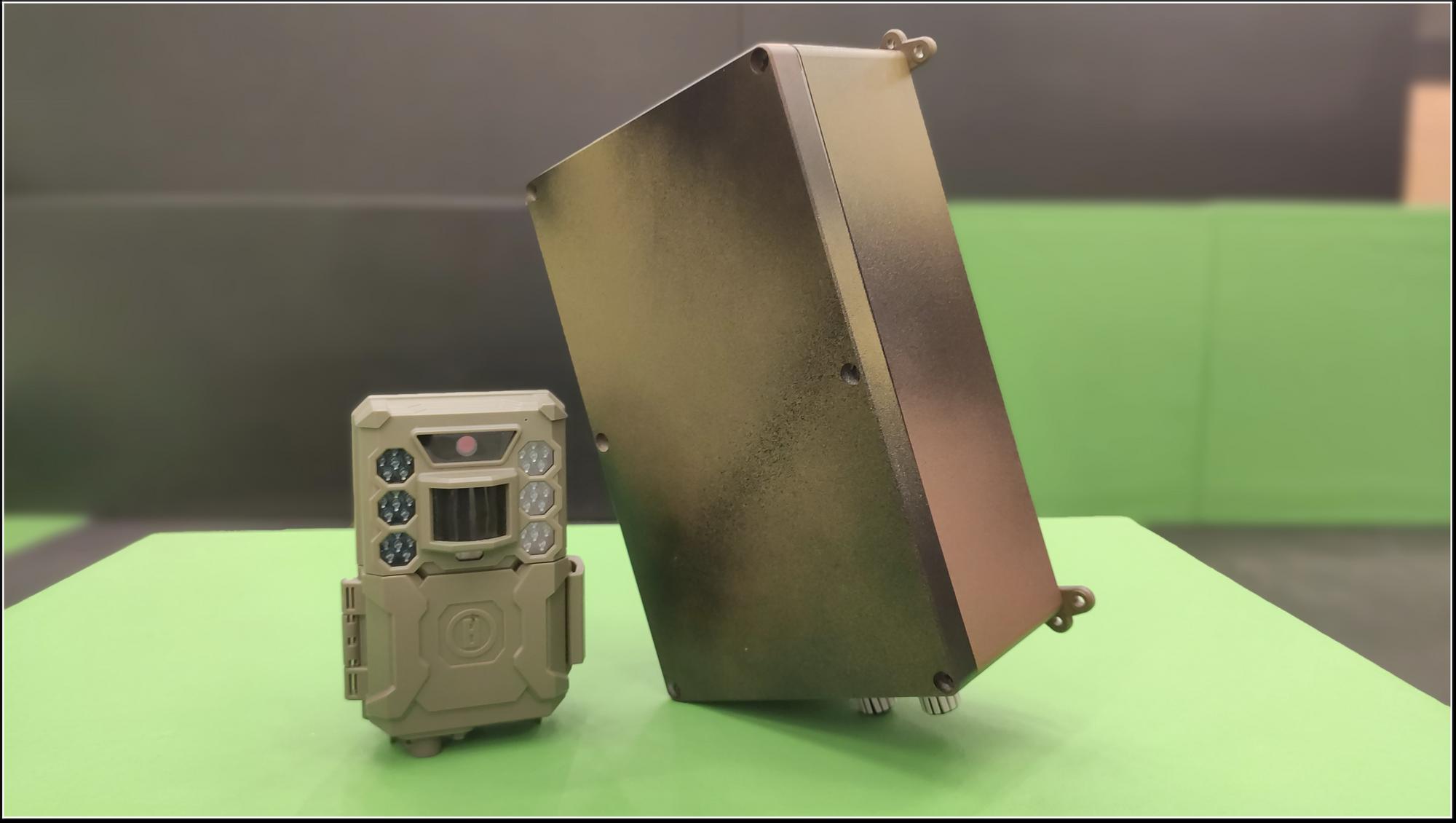 Modified Bushnell camera trap and our custom Smart Bridge hardware